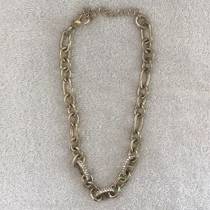 Gold chain necklace chunky with rhinestones